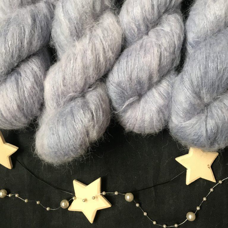 silvery grey fluffy yarn on a black background