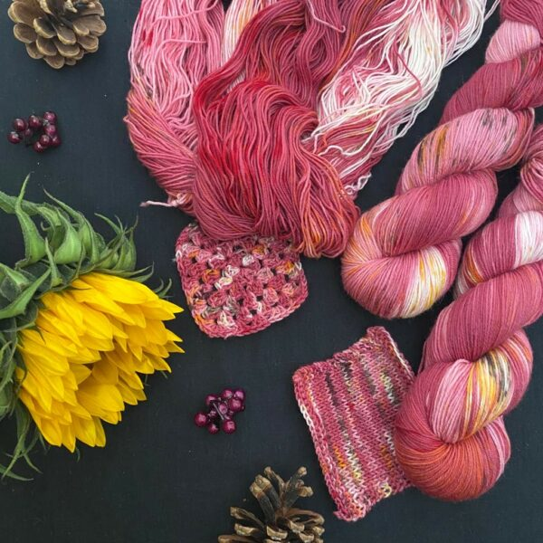 a black background with pine cones, berry coloured beads and a closed sunflower. an untwisted skein of deep red with white patches is speckled with yellows and browns. two twisted skeins are adjacent. knit and crochet swatches are tucked under the yarns.