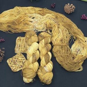 golden yellow yarn, with darker and lighter areas, and speckles of browns oranges and a hint of purple. Yarns are shown in twisted skeins, opened skeins and as swatches