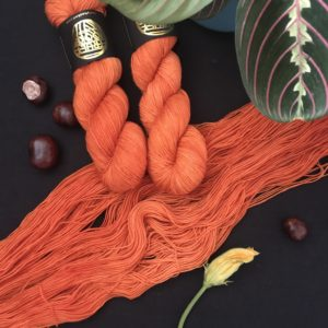 an untwisted skien of bright pumpkin orange semi solid yarn lays diagonally across a back background with two twisted skeins on the top. conkers, a closed courgette flower and a maranta plant are also in the shot.