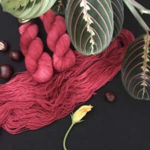 an untwisted skien of dark, blood red semi solid yarn lays diagonally across a back background with two twisted skeins on the top. conkers, a closed courgette flower and a maranta plant are also in the shot.